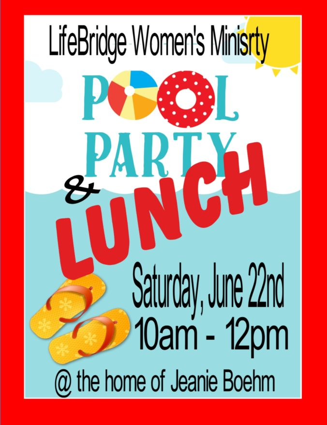 Women's Ministry Pool Party Lunch Flyer